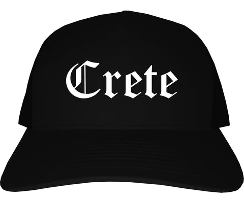Crete Nebraska NE Old English Mens Trucker Hat Cap Black