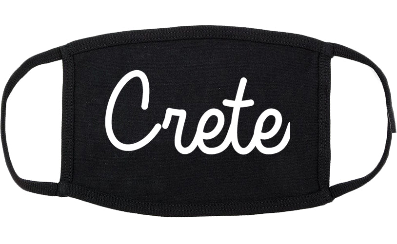 Crete Nebraska NE Script Cotton Face Mask Black