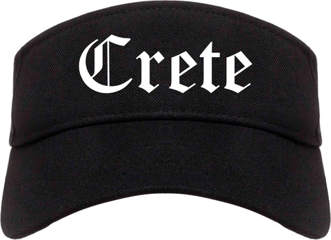Crete Nebraska NE Old English Mens Visor Cap Hat Black