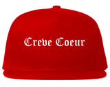 Creve Coeur Illinois IL Old English Mens Snapback Hat Red