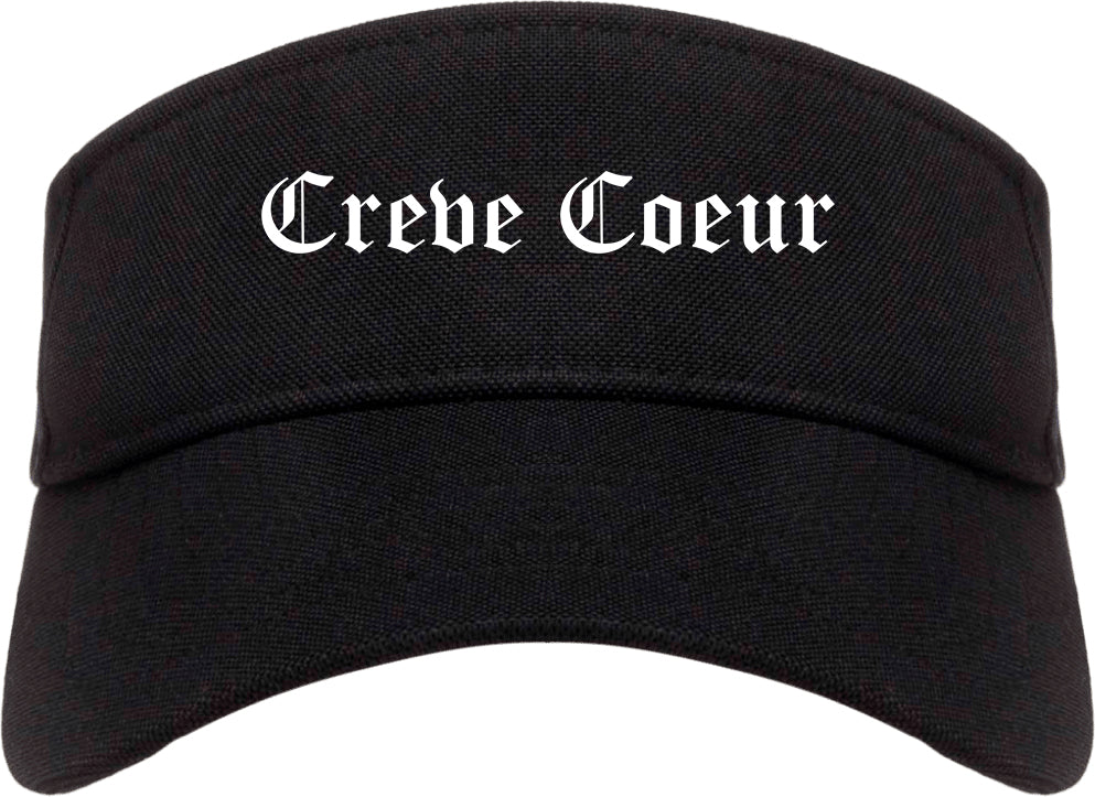 Creve Coeur Missouri MO Old English Mens Visor Cap Hat Black