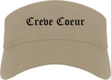 Creve Coeur Missouri MO Old English Mens Visor Cap Hat Khaki