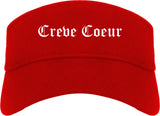 Creve Coeur Missouri MO Old English Mens Visor Cap Hat Red