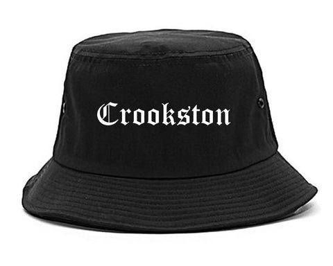 Crookston Minnesota MN Old English Mens Bucket Hat Black