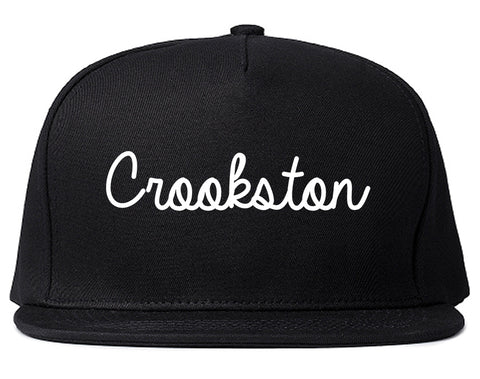 Crookston Minnesota MN Script Mens Snapback Hat Black