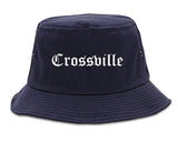 Crossville Tennessee TN Old English Mens Bucket Hat Navy Blue