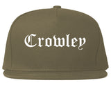 Crowley Texas TX Old English Mens Snapback Hat Grey
