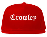 Crowley Texas TX Old English Mens Snapback Hat Red