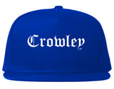 Crowley Texas TX Old English Mens Snapback Hat Royal Blue
