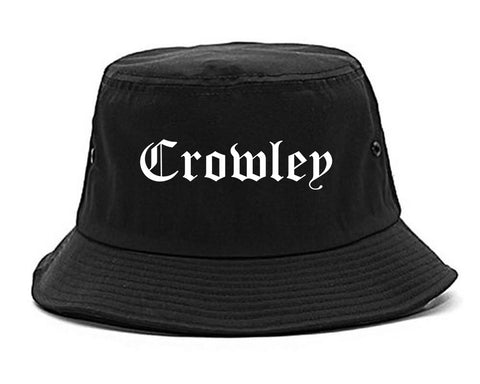 Crowley Texas TX Old English Mens Bucket Hat Black