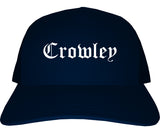 Crowley Texas TX Old English Mens Trucker Hat Cap Navy Blue
