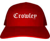 Crowley Texas TX Old English Mens Trucker Hat Cap Red
