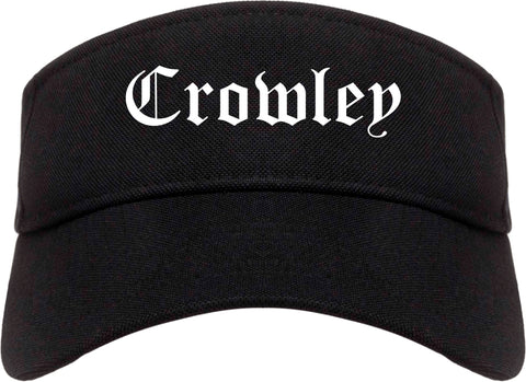 Crowley Texas TX Old English Mens Visor Cap Hat Black