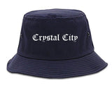 Crystal City Missouri MO Old English Mens Bucket Hat Navy Blue