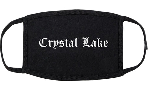Crystal Lake Illinois IL Old English Cotton Face Mask Black