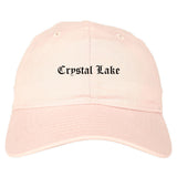 Crystal Lake Illinois IL Old English Mens Dad Hat Baseball Cap Pink
