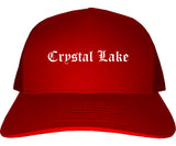 Crystal Lake Illinois IL Old English Mens Trucker Hat Cap Red