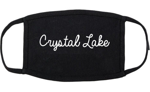 Crystal Lake Illinois IL Script Cotton Face Mask Black