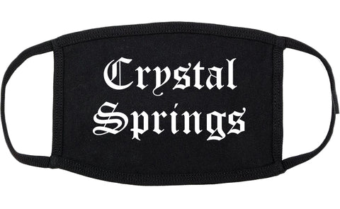 Crystal Springs Mississippi MS Old English Cotton Face Mask Black