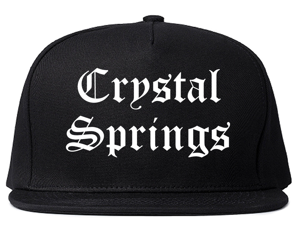 Crystal Springs Mississippi MS Old English Mens Snapback Hat Black