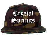 Crystal Springs Mississippi MS Old English Mens Snapback Hat Army Camo