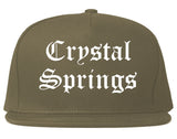 Crystal Springs Mississippi MS Old English Mens Snapback Hat Grey