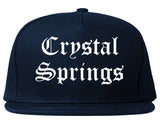Crystal Springs Mississippi MS Old English Mens Snapback Hat Navy Blue
