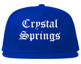 Crystal Springs Mississippi MS Old English Mens Snapback Hat Royal Blue