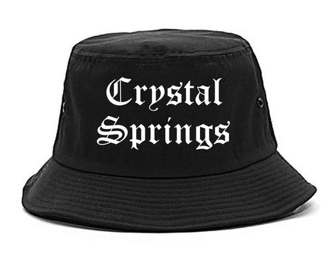 Crystal Springs Mississippi MS Old English Mens Bucket Hat Black