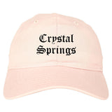 Crystal Springs Mississippi MS Old English Mens Dad Hat Baseball Cap Pink