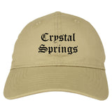 Crystal Springs Mississippi MS Old English Mens Dad Hat Baseball Cap Tan