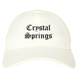 Crystal Springs Mississippi MS Old English Mens Dad Hat Baseball Cap White