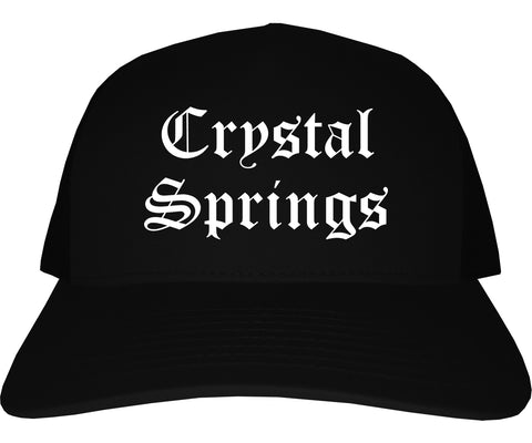 Crystal Springs Mississippi MS Old English Mens Trucker Hat Cap Black