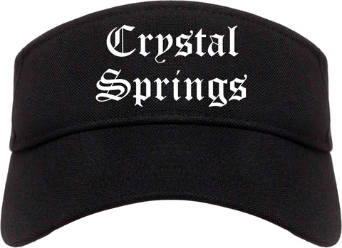 Crystal Springs Mississippi MS Old English Mens Visor Cap Hat Black
