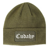 Cudahy California CA Old English Mens Knit Beanie Hat Cap Olive Green