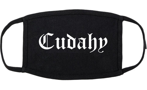 Cudahy Wisconsin WI Old English Cotton Face Mask Black