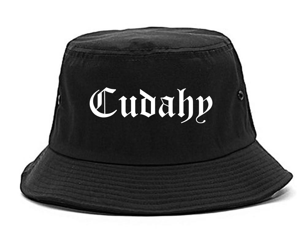 Cudahy Wisconsin WI Old English Mens Bucket Hat Black