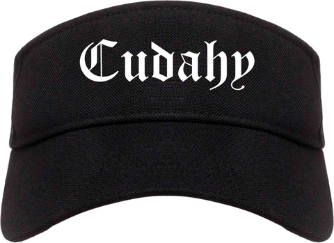 Cudahy Wisconsin WI Old English Mens Visor Cap Hat Black