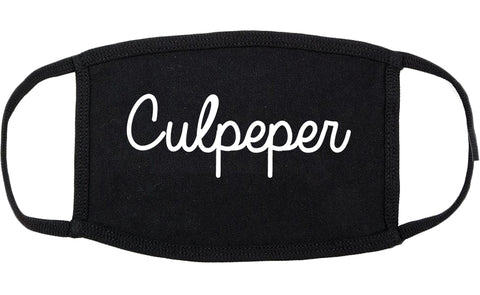 Culpeper Virginia VA Script Cotton Face Mask Black