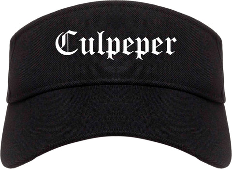 Culpeper Virginia VA Old English Mens Visor Cap Hat Black