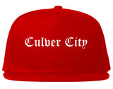 Culver City California CA Old English Mens Snapback Hat Red