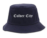 Culver City California CA Old English Mens Bucket Hat Navy Blue