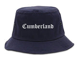 Cumberland Indiana IN Old English Mens Bucket Hat Navy Blue