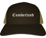 Cumberland Maryland MD Old English Mens Trucker Hat Cap Brown