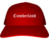Cumberland Maryland MD Old English Mens Trucker Hat Cap Red