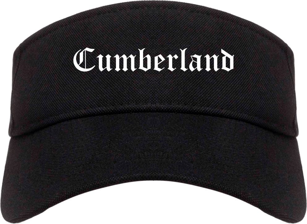 Cumberland Maryland MD Old English Mens Visor Cap Hat Black