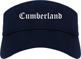 Cumberland Maryland MD Old English Mens Visor Cap Hat Navy Blue
