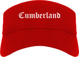 Cumberland Maryland MD Old English Mens Visor Cap Hat Red