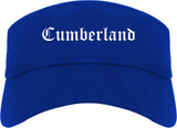 Cumberland Maryland MD Old English Mens Visor Cap Hat Royal Blue