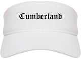 Cumberland Maryland MD Old English Mens Visor Cap Hat White